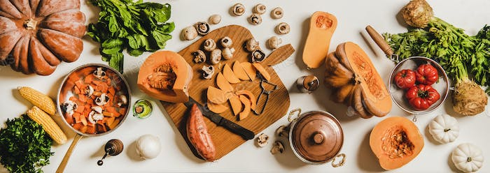 Fall and winter seasonal nutritious vegan cooking products layout