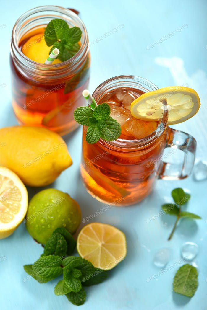 Refreshing Iced Tea With Lemons, Summer Drink