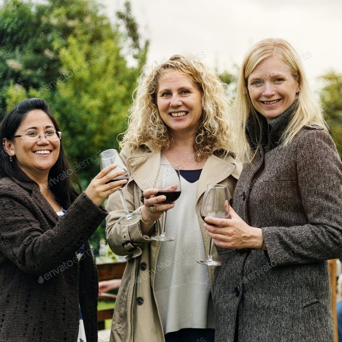 Women Drinking Wine Together Concept