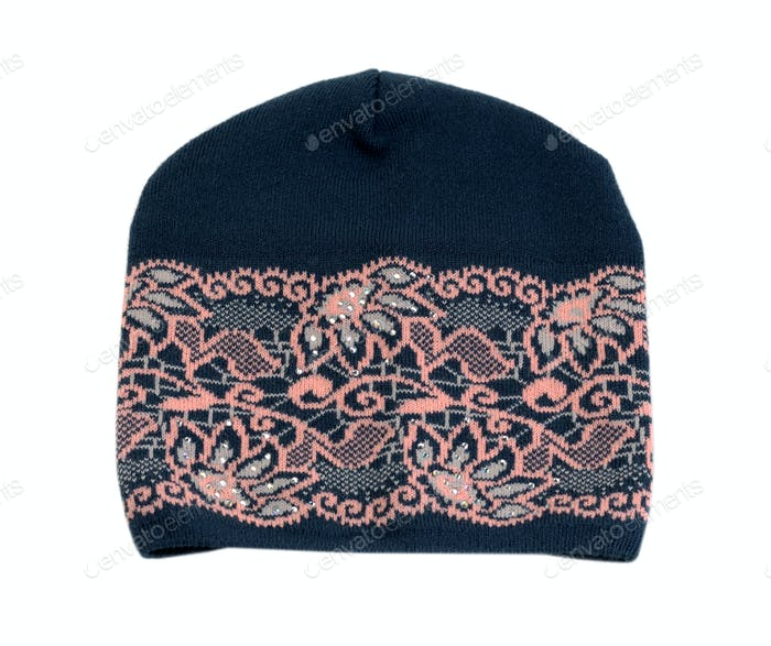 Dark knitted hat with a pink pattern.