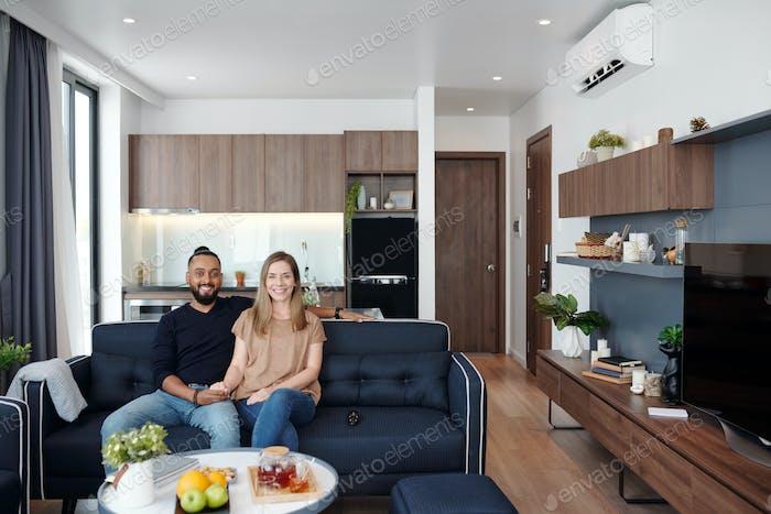 Couple in studio apartment