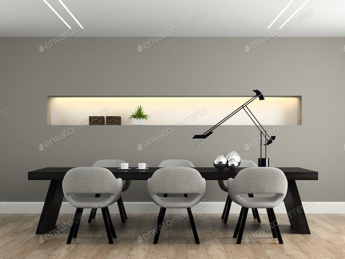 Modern interior dining room 3D rendering