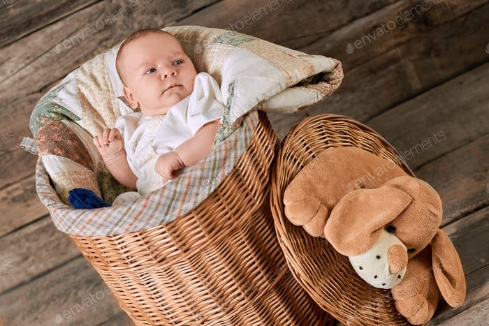 Cute baby in willow basket