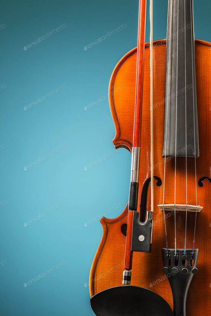The violin front view on blue