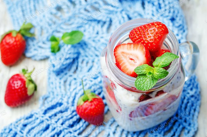 homemade healthy Chia seeds and strawberry overnight oatmeal in