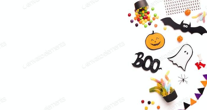 Halloween Urlaub Hintergrund mit flachen lag von gruseligen Figuren