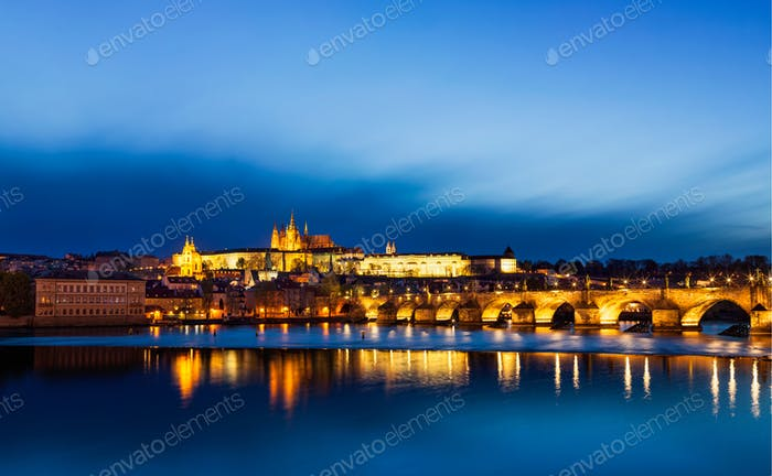 Panorama of Charles Bridge (Karluv most) and Prague Castle