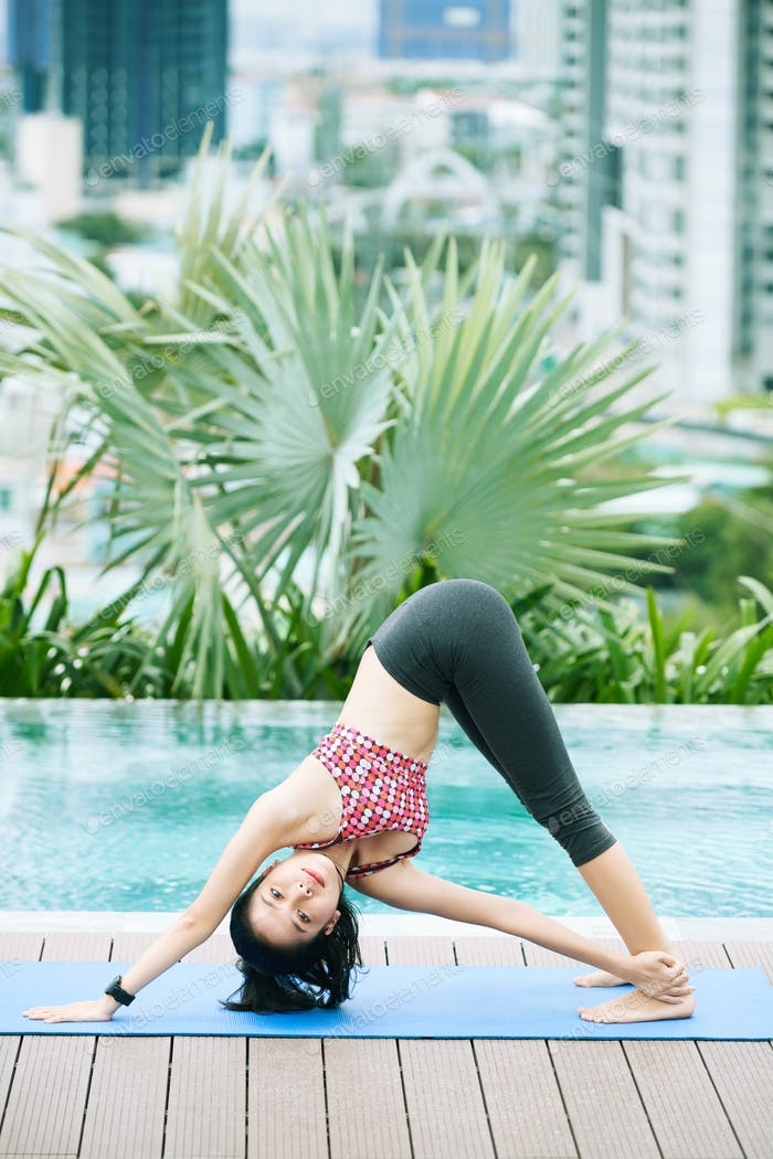 Fit woman training outdoors