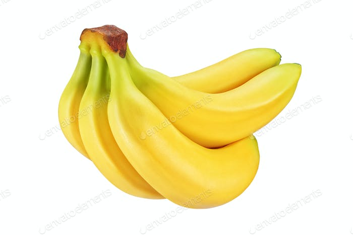 Bunch of yellow bananas isolated on white background