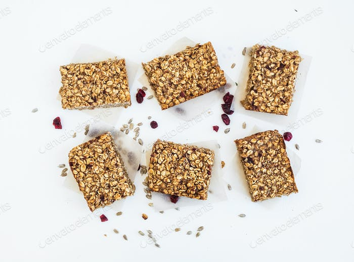 Granola bars on white background, top view