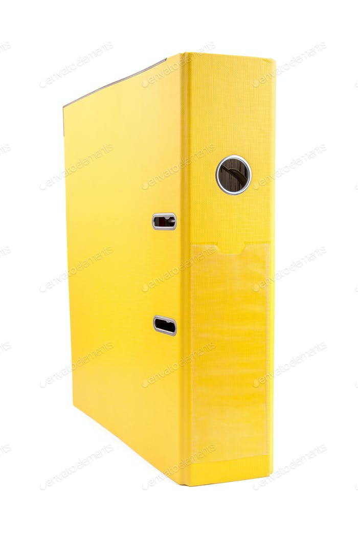 Yellow office folder on white background