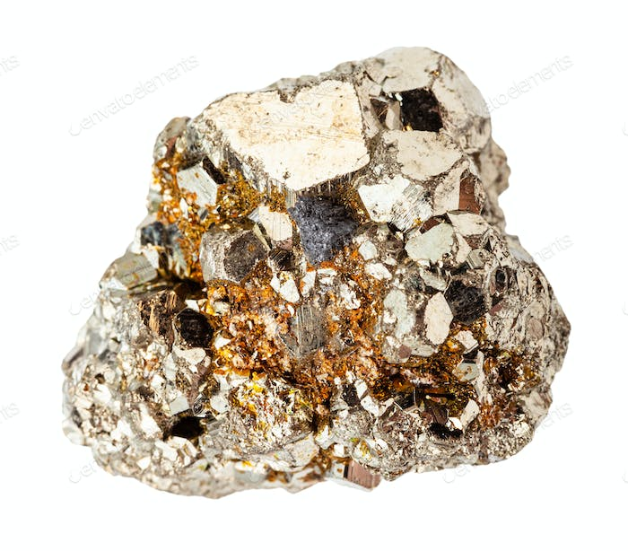 rough crystalline Pyrite rock isolated