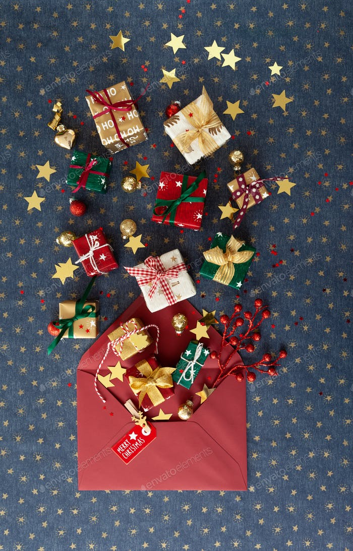 Gift wrapped presents for Christmas