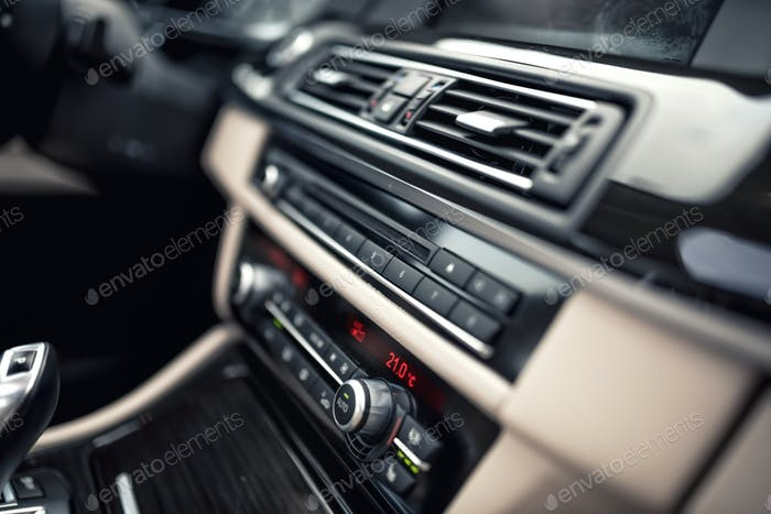 car ventilation system and air conditioning - details and controls of modern car
