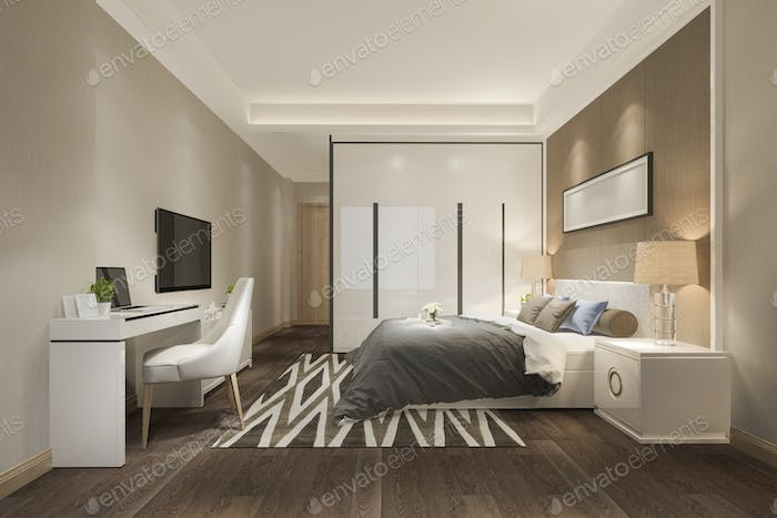 3d rendering beautiful luxury bedroom suite in hotel with tv