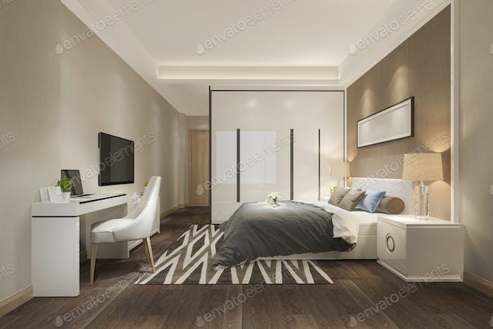 3D Rendering schöne Luxus-Schlafzimmer-Suite im Hotel mit tv