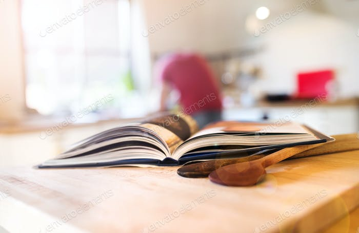 Cook book on a table