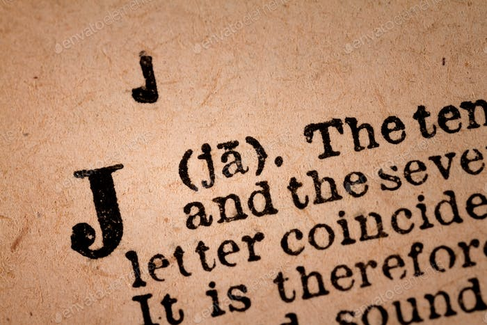 Close-up of a J, the 10th Letter of the Latin Alphabet