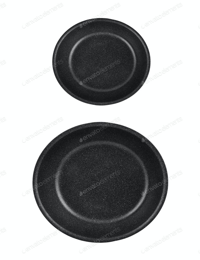 kitchen frying pans isolated