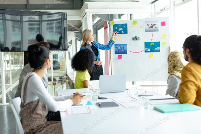 Caucasian businesswoman giving presentation on flip chart during meeting