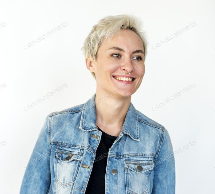 Caucasian Woman Smiling Face Expression Studio Portrait