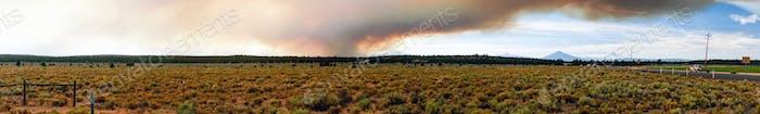 Long Panoramic View Smoke Summer Widfire Oregon Cascade Mountain