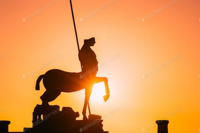 Pompeii, Italy. Statue Of Centaur On Territory Of Forum On Background Sunset Sunrise Sky