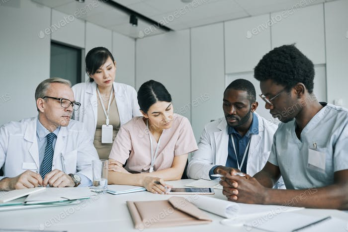 Diverse Group of Doctors Communicating in Meeting
