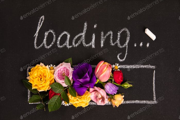Hand-drown loading bar with flowers