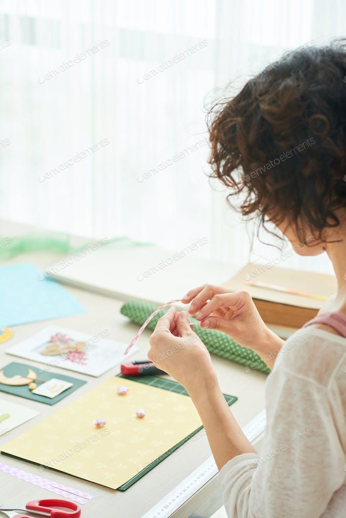 Enjoying Creation of Handmade Greeting Card