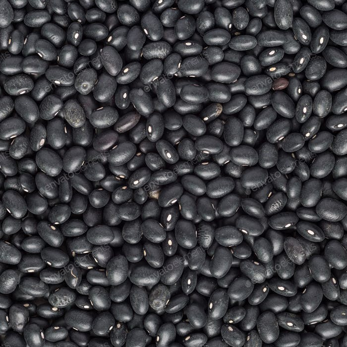 Food background with uncooked dry black beans, top view, square