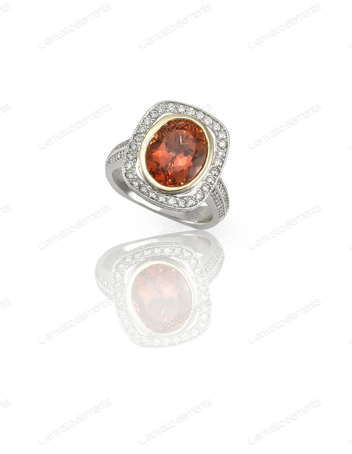 Ruby center stone diamond ring