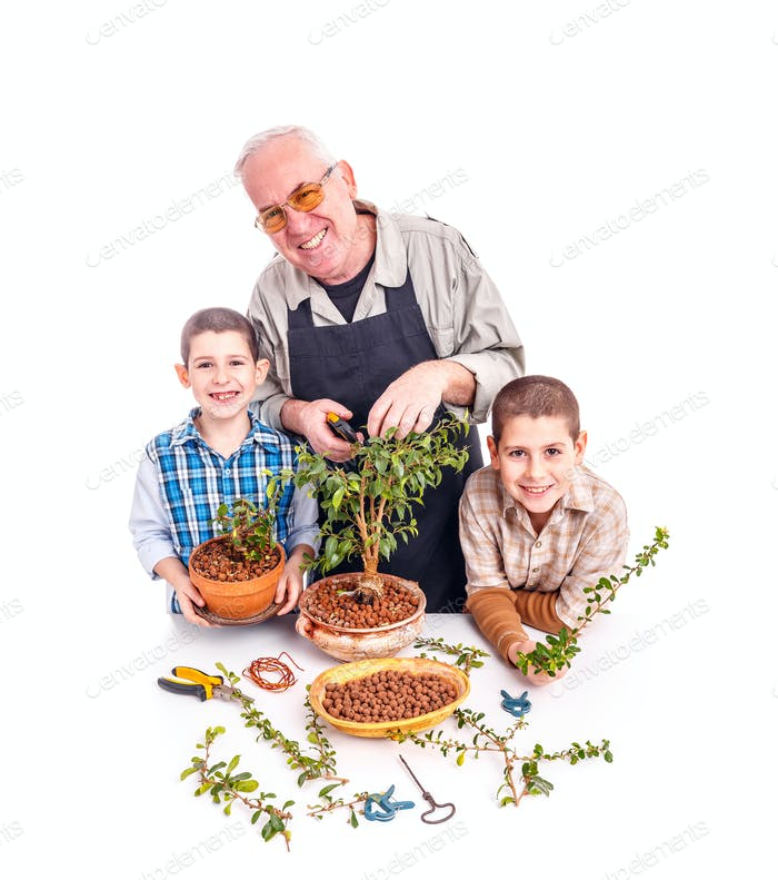 Senior man with his grandchildren