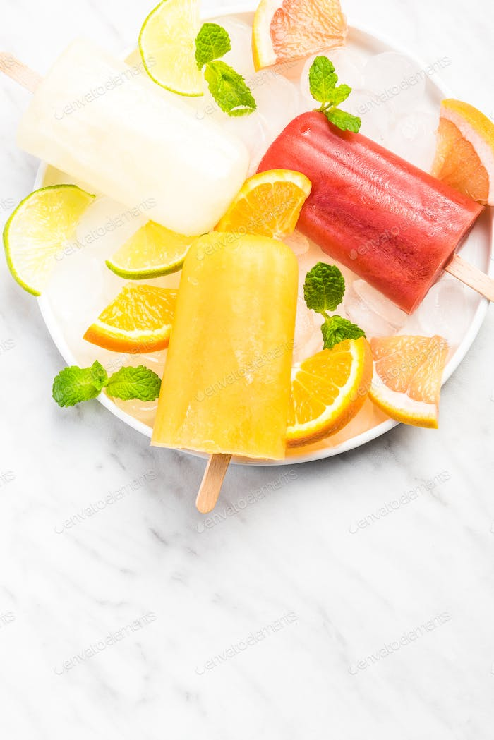 Natural juice homemade healthy popsicles