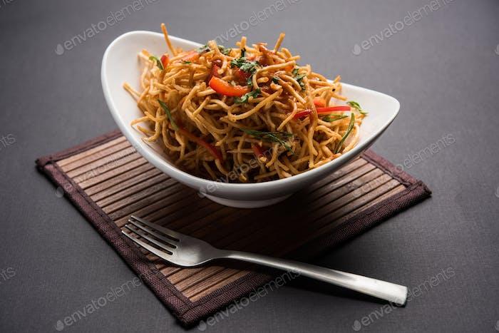 Chinesische Bhel ist ein Fast-Food-Artikel von Nordost-Indian, weithin beliebt in Mumbai
