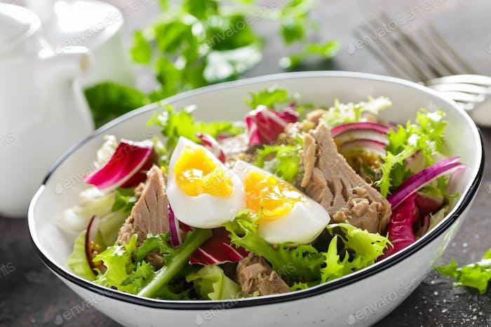 Tuna salad in bowl. Mediterranean food. Fresh salad with canned tuna fish. Healthy diet food