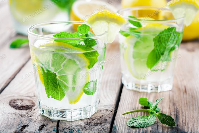 summer iced drink with lemon and mint