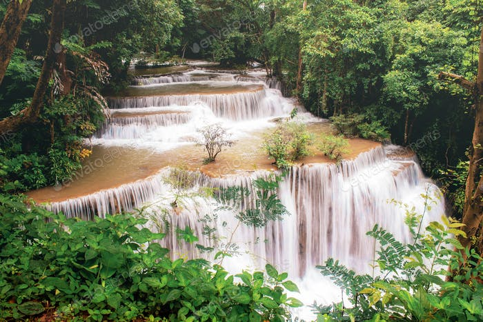 Huay mae kamin waterfall in the rainy season