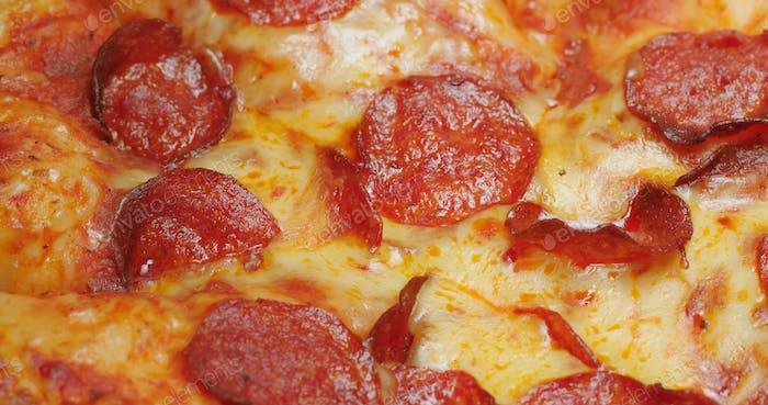 Hot Pepperoni Pizza close up
