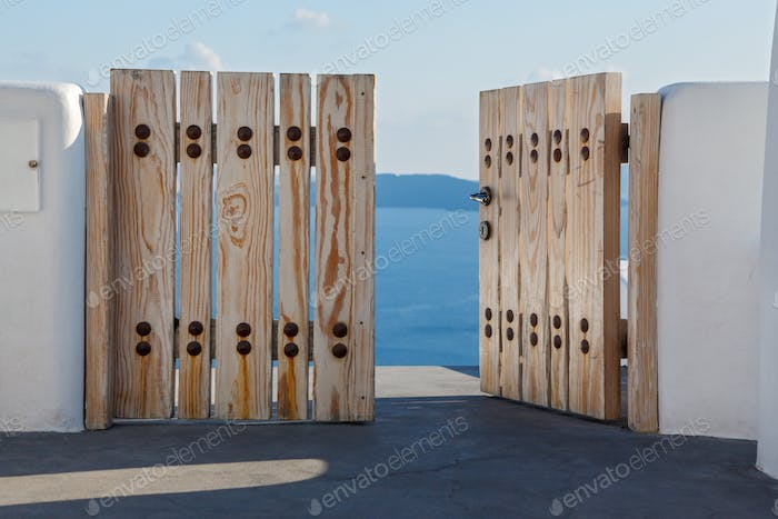 Wooden gates  to the sea