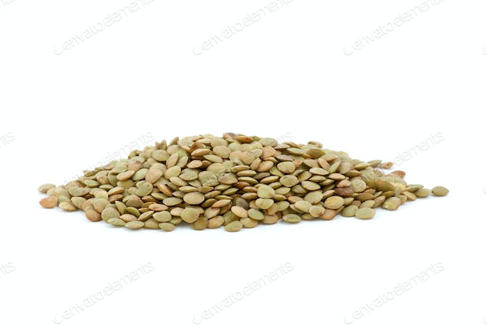 Small pile of dried lentil seeds