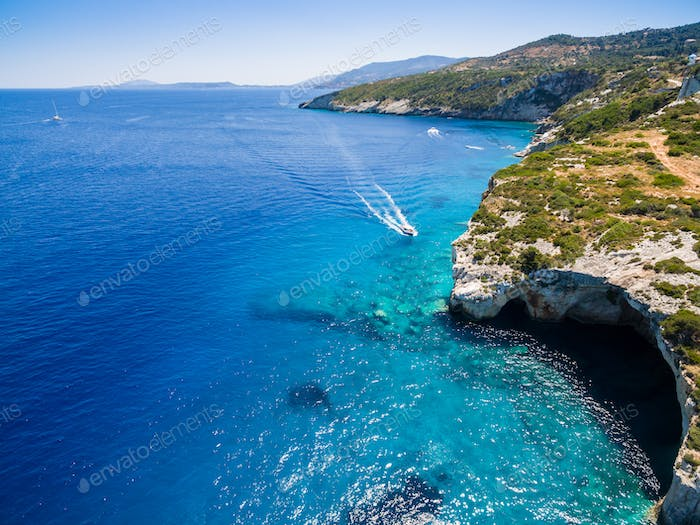 Aerial  view of  Agios Nikolaos blue caves  in Zakynthos (Zante)