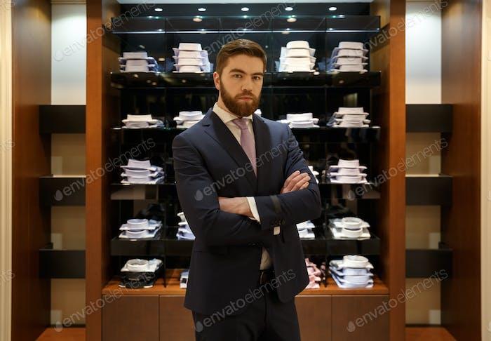 Man standing near the showcase