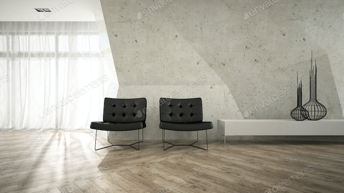 Part of stylish interior with two armchair 3D rendering