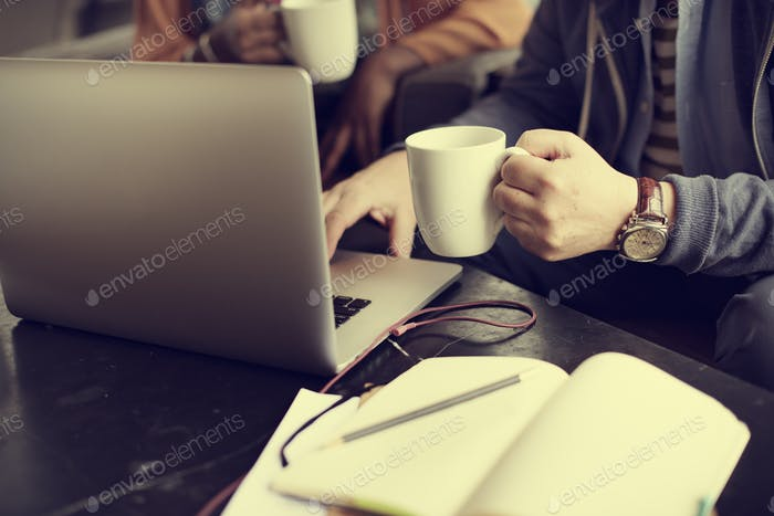 Businessman Working Coffee Shop Busy Concept