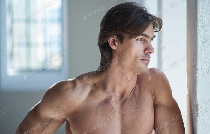 Portrait of shirtless muscular male.