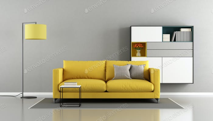 Modern living room with yellow couch