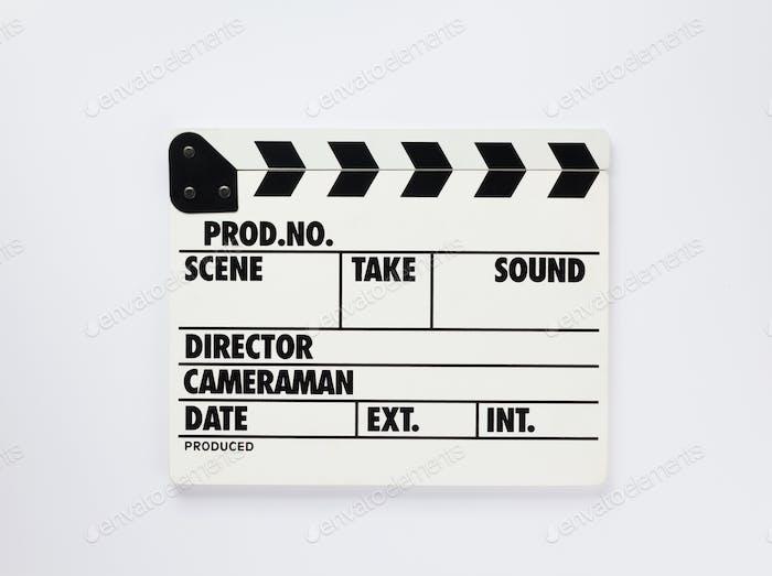 Film Klapper Board auf weißem Hintergrund