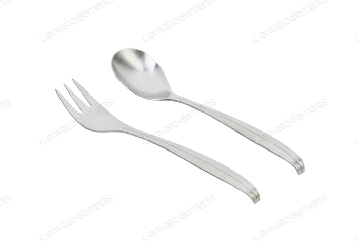 Metal spoon and fork