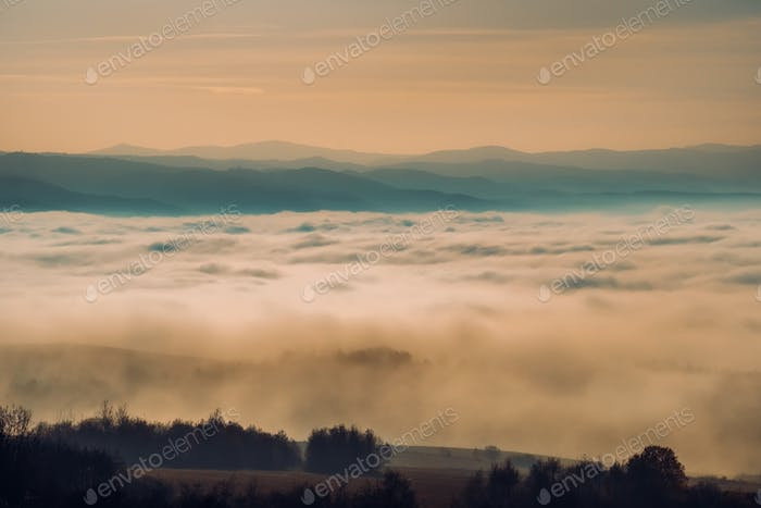 Moody autumn landscape with hills, mountains and clouds, Slovakia